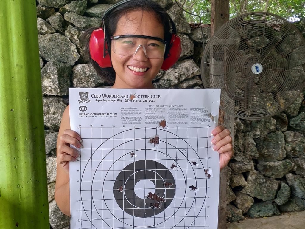 pia with paper target